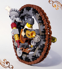Steamonowheel view one (captainsmog) Tags: mars scarf circle lego victorian machine trumpet gear steam weapon copper vehicle driver gauge martian steampunk mocs moc steamwheel monowheel greebles
