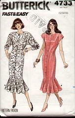 Butterick 4733 1980s Fishtail Dress (R.O.Holcomb) Tags: pattern dress sewing 1980s fishtail butterick 4733