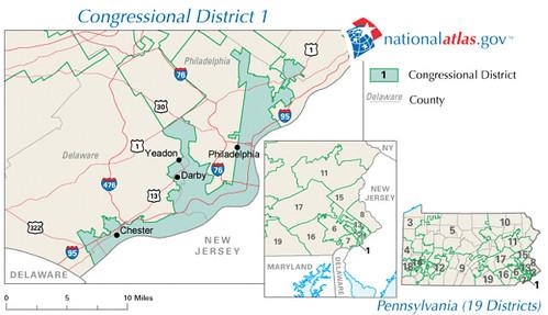 Pennsylvania District 1 111th Congress as elected 4 November 2008