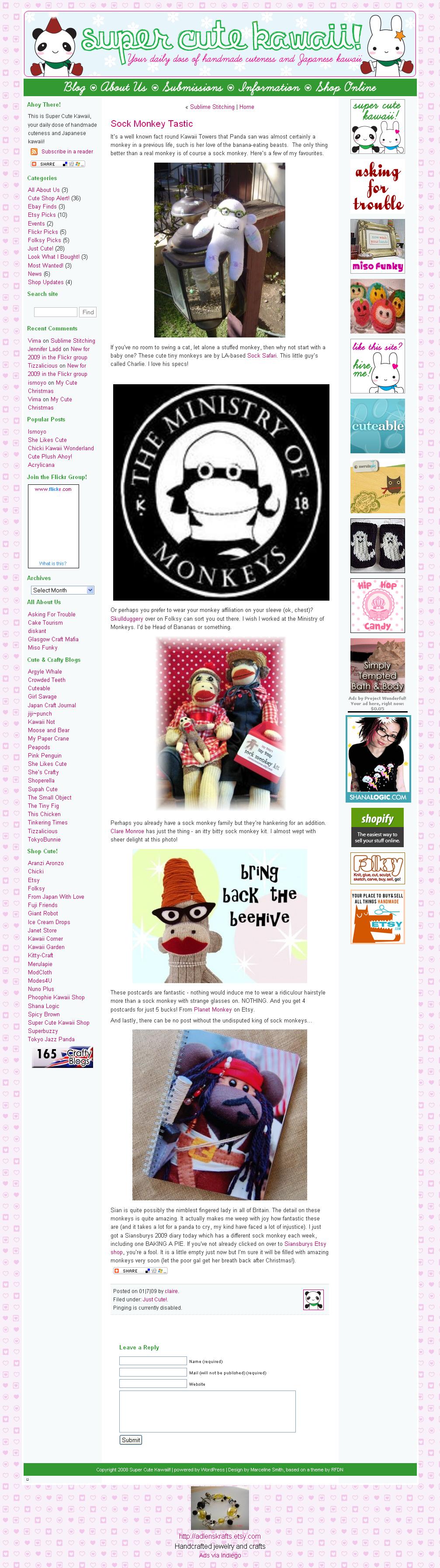 Super Cute Kawaii!! » Blog Archive » Sock Monkey Tastic_1231327709540