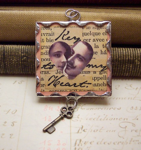 Key To My Heart Collage Art Soldered Pendant