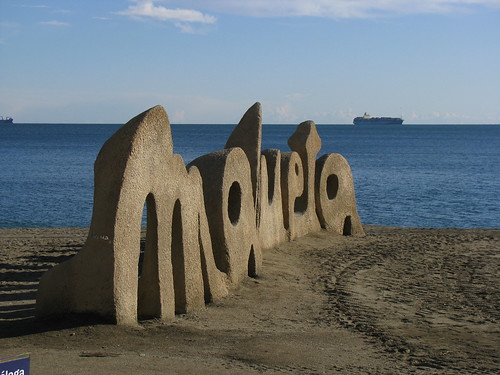 Malagueta Beach Word Sculpture, Malaga, Spain