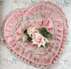 Pink Vintage Valentine Box (such pretty things) Tags: pink flowers roses wallpaper holiday love vintage candy heart box lace chocolate silk valentine ribbon boxes satin valentinesday millinery shabbychic