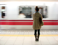 Tokyo subway, arriving or leaving? (Phil & Delph) Tags: girl japan speed train underground subway boot tokyo legs boots metro leg japon notrejapon