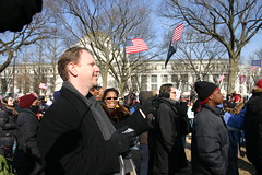 Tony cheers from Inauguration from National Mall