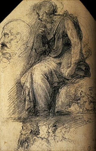 1508  Raphael    The Disputa, Study of a seated saint  Blackchalk and white chalk  38,7xx26,6 cm  otam