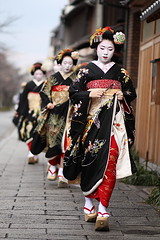 walking / people / japanese / street / girls : maiko (geisha apprentices), kyoto japan / canon EF 85mm f1.8 (momoyama) Tags: street new travel girls people black beautiful beauty japan walking asian japanese kyoto asia dof traditional culture 85mm maiko geiko geisha   kimono 2009 miyagawacho ef85mmf18  blackkimono fukuhiro