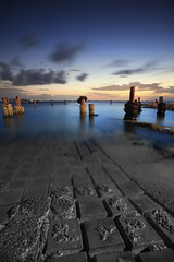 The Boat Ramp (Garry - www.visionandimagination.com) Tags: blue sunset sky vertical night sunrise stars landscape bay twilight oz bricks shoreline australia landing boating 5d poles aus slipway pavers boatramp mywinners ef1635mmf28liiusm spiritofphotography theboatramp wwwvisionandimaginationcom