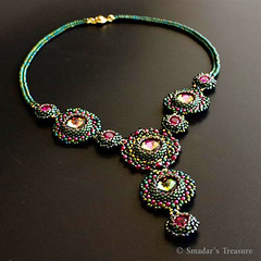 Tropical Nights - Beadwoven Necklace - EBWC (Smadar's Treasure) Tags: necklace crystal jewelry bead etsy collar beading beaded bao beadwork beadweaving cabochon ebw beadwoven ebwc ebwteam baoteam beadartoriginals