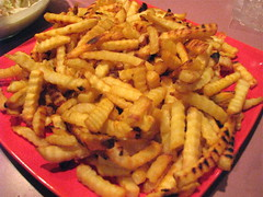 Fries for the homemade No. 2 special (andrewwinn) Tags: homemade fries coleslaw crinklecut redplate