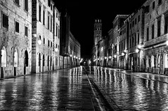 Dubrovnik Stradun before Dawn (Reds.) Tags: morning blackandwhite bw white black dawn shiny empty croatia paca software nik dubrovnik stradun silverefex