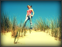 Wind in my hair :) (JesseMari) Tags: california pink blue portrait sky green beach grass monterey sand turquoise dunes tan cloudless picnik fortord selfportrrait sandsunes