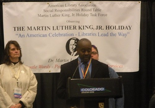LaJuan Pringle welcoming everyone to the Tenth Annual Sunrise Observance of the Martin Luther King, Jr. Holiday