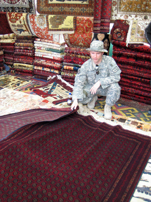 Shawn Thorsson carpet Shopping in Kabul