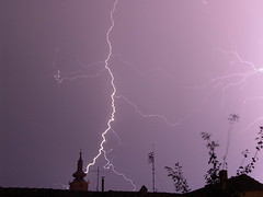 The tower almoast gets it - Checea (AragianMarko) Tags: longexposure europe romania thunderstorm lightning sonydscf828 checeachurch banattimis