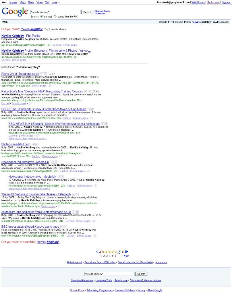 Neville Keithley - Google CV - Exact Match