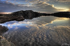 George's Pond, Signal Hill (gwhiteway) Tags: canada reflection nature water clouds sunrise canon newfoundland stjohns reflexions signalhill bej 40d skycloudssun theunforgettablepictures georgespond platinumheartaward