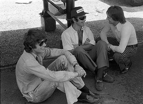 Francois Cevert(FRA), Peter Revson(USA) and Brabham boss Bernie Ecclestone(GBR)
