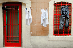 Laundry (SurfaceSpotting) Tags: barcelona color colour colors spain nikon colours clothes laundry barceloneta catalunya d40 michaelides d40x surfacespotting georgemichaelides travelsofhomerodyssey