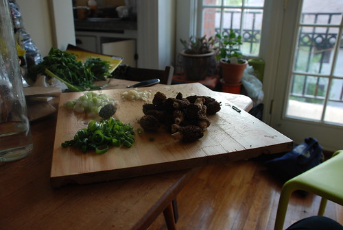 onions from the garden and morels from the market