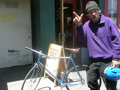 you know about it? (The MD) Tags: old bike that graffiti san francisco with gear dude pizza brakes fixed amc swerv
