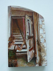 'No Place' (2008) (Jessica Copping) Tags: shadow red art stairs artwork women surreal doorway figure ribbon dreamlike narrative symbolic psychological