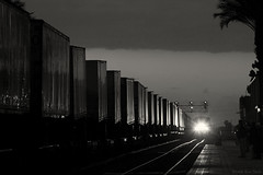 The Chief along side Trailers (K-Szok-Photography) Tags: california blackandwhite canon outdoors nightimages dusk chief socal amtrak nightshots canondslr fullerton bnsf trailers railroads railroadcars fullertoncalifornia alltrains intothedarkness bluemoonrising betterinblackandwhite movingtrains amtrk californiafullerton alltypesoftransport aphotographersnature monochromaticvisions