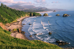 "Crescent Beach at Ecola State Park, Oregon Coast (near sunset) (IronRodArt - Royce Bair (""Star Shooter"")) Tags: ocean park morning blue mist green beach nature ecology rain rock oregon forest canon landscape coast sand waves state sandy scenic environmental tranquility wave system crescent haystack cannon environment coastline sitka eco spruce ecola ecosystem primitive peacefultranquil"