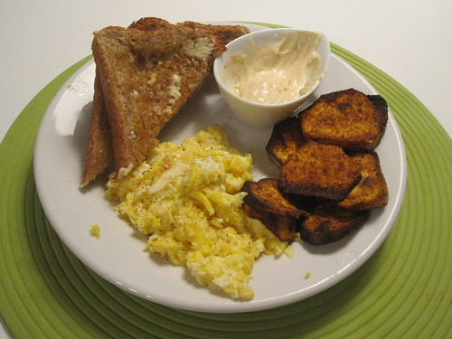 scrambled eggs, toast, roasted sweet potato, spicy mayo