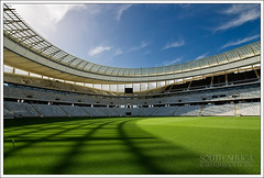 South Africa - Cape Town - Green Point Stadium I (Lo Scorpione) Tags: africa green grass southafrica football stadium fifa soccer curves capetown worldcup 2010 kaapstad sigma1020mm suidafrika greenpointstadium bafanabafana capetownstadium andromeda50