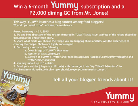 Yummy Magazine Blogger Contest