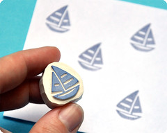 Sailing boat hand carved rubber stamp