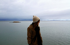 Hfn (alexislrussell) Tags: ocean blue winter sea portrait sky water girl hat island islands iceland view glacier shore vatnajokull vatnajkull hfn hofn hfnhornafiri