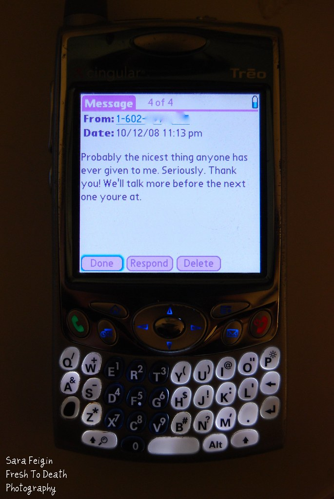 The Treo eats saved text messages