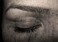 Closed Eyes (DeLaRam.) Tags: eye texture sepia photoshop hurt closed sad tell eyelash edit notbeauty قهوهتلخ مرگتدریجییکرویا یغماگلرویی چشامبستهاستجهانمشکلخوابه