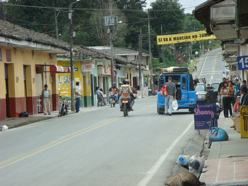 Timbío main drag which is also part of the Panamerican Hwy...Just south of Popayán, Colombia.