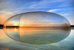 "The spaceship has landed... [Beijing Opera House (""The Egg"") - ] (5ERG10) Tags: china blue light sunset sky orange sun house color reflection building water glass colors sergio yellow architecture photoshop reflections gold mirror golden nikon opera shiny asia theater tramonto colours theatre alien egg sightseeing beijing sigma landmark structure sphere round handheld  colourful  sole frontpage 1020 architettura hdr highdynamicrange cina luce peking riflesso pekin sigma1020mm 10mm pechino zhongguo paulandreu 3xp photomatix d80 nationalgrandtheatre  amiti nationalcentrefortheperformingarts 5erg10 sergioamiti"