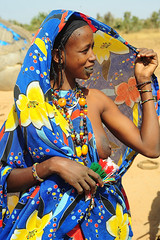 cindarella or princess? (luca.gargano) Tags: voyage africa travel amber necklace beads colours dress tribal hut bracelet mali gargano peul lucagargano