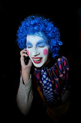 Phone Clown (Big_Law) Tags: nikon phone clown clowns bluehair d300 bluedots sigma1020mm nikond300