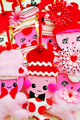 Sweetheart Hangies (boopsie.daisy) Tags: pink flowers red white holiday cute art love vintage hearts pom couple day heart handmade stripes inspired adorable couples craft kitsch valentine polka lovers homemade bow handpainted daisy pairs valentines handcrafted ric sweethearts dots rac poms boopsie boopsiedaisy