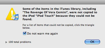 iTunes Warning