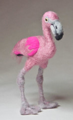 Needle Felted Pink Flamingo (Nina Bolen) Tags: wool felting flamingo needlefelting glasseyes birdart nfest customplush needlefeltedbird commissionplush ninabolen needlefeltedflamingo