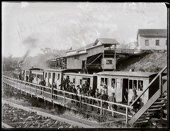 Miners' train at the Burwood Colliery Number Three Pit, NSW, 26 August 1898 (Cultural Collections, University of Newcastle) Tags: railroad train underground railway australia nsw mines dudley coal lakemacquarie miners 1898 whitebridge ralphsnowball snowballcollection ralphsnowballcollection asgn0170b7 burwoodcolliery burwoodcollierynumberthreepit burwoodcollieryno3pit newcastleregionnswhistorypictorialworks photographynewsouthwalesnewcastle railroadsnewsouthwalestrains