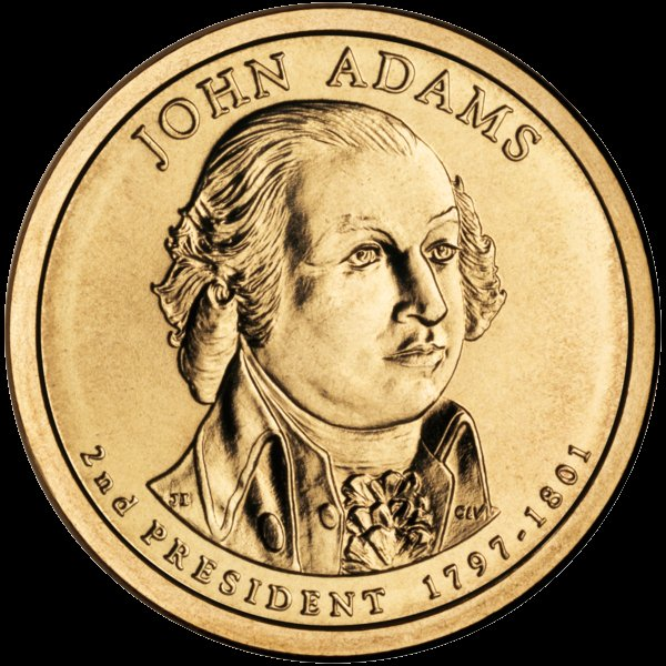 John Adams Presidential $1 Coin — Second President, 1797-1801