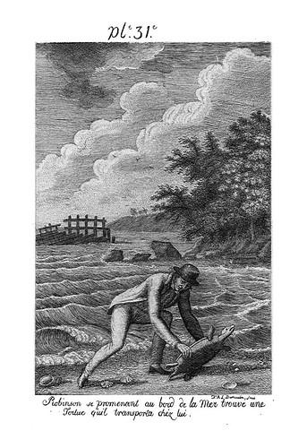 015- Robinson encuentra una tortuga marina que le servira de comida
