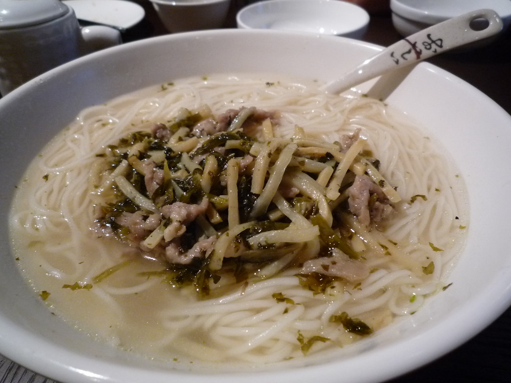 Noodles with shredded pork and Shanghai pickles in soup
