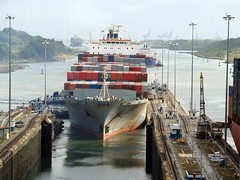 Cosco container ship in Panama canal (wirralwater (NO MORE UPLOADS)) Tags: canal ship container panama cosco