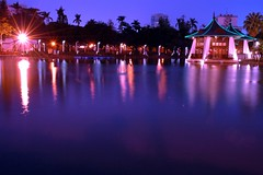 TAICHUNG PARK  (Ming - chun ( very busy )) Tags: park light lake water night nikon shot d70 taiwan taichung  1001nights
