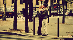 Les Amoureux de la Rue (ecca) Tags: road street portrait people paris france love kiss kissing couple crossing view traffic documentary lovers series cinematic robertdoisneau