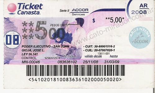 Ticket Canasta Gioja